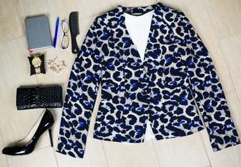 Outfit of clothes and woman accessories.  Overhead of essentials