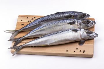 Mackerel fish on cutting board