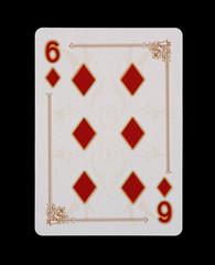 Spielkarten - Poker - Karo Sechs im Spiel