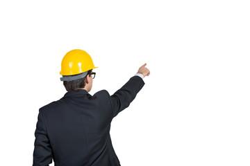 businessman points hand