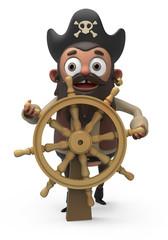 3D Pirate Behind a Steering Wheel