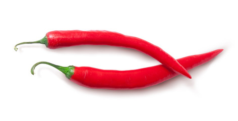 Two red chili peppers crossed