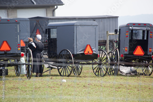 canvas print picture Black Amish buggies lined up
