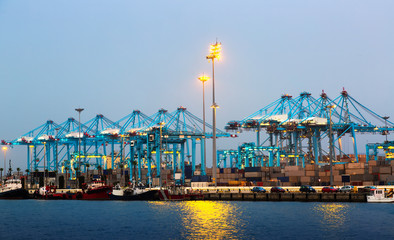 Port with cranes and containers