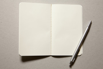 white notice book with ball pen