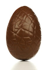 Chocolate Easter egg isolated on white