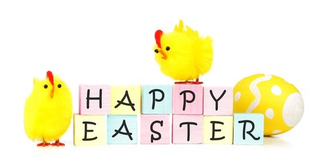 Happy Easter wooden blocks with eggs and yellow fuzzy chicks
