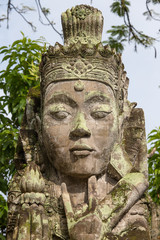Traditional sculpture in the temple in Ubud, Bali, Indonesia