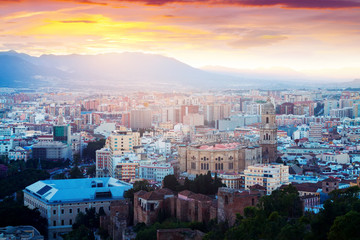 Malaga with Cathedral in dawn.  Spain