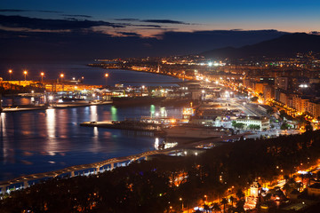 Port of Malaga from castle in  evening