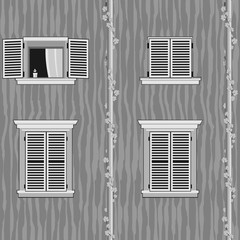 Seamless pattern with italian windows. Black and white version