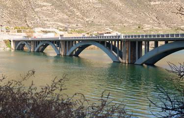 Bridge over reservoir of Mequinenza.  Spain