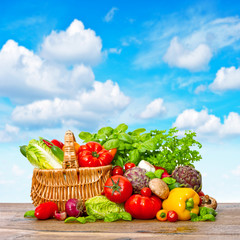 Fresh vegetables and herbs. Shopping basket with food ingredient