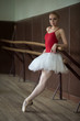 Ballerina standing near the bar on tiptoe, leaning his elbow.