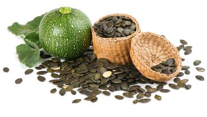 pumpkin with pumpkin seeds in a basket