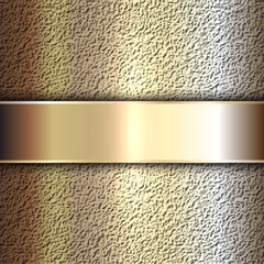 Vector precious metal golden plate on stone background