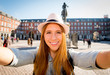 tourist woman visiting Europe in holidays taking selfie - 78673946