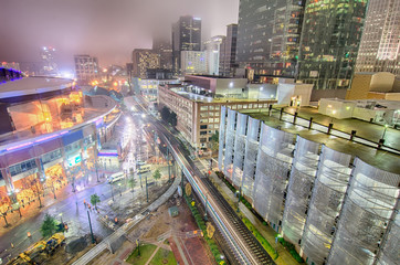 charlotte city skyline night scene in fog