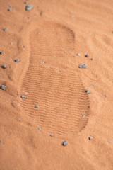 humans footprint in marsian dirt
