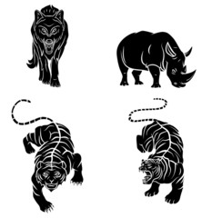 Wolf,Tiger and Rhino Tattoo Collection