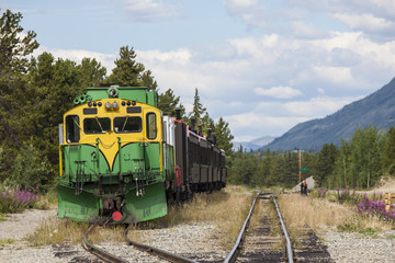 Train waits in siding at Carcross in Alaska