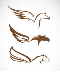 Vector image of an pegasus winged horses
