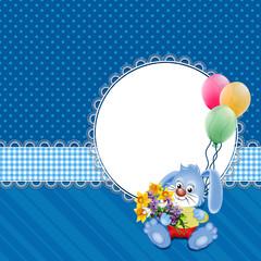 фон синий с зайцем, цветами и шарами