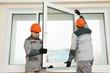 Leinwanddruck Bild - two workers installing window