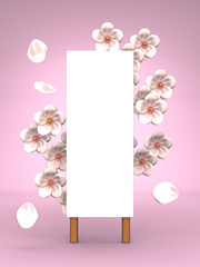 Cherry Blossoms And Blank Billboard On Pink Background
