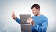 Man photographs the tablet