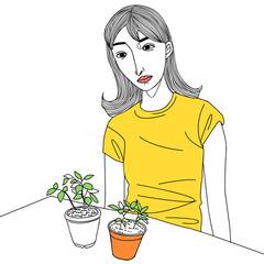 flowerpot and girl