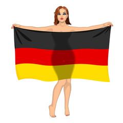 girl behind the flag