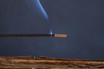 Closeup take of a burning incense stick