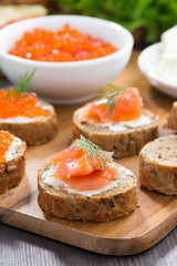 appetizers - toast with salted salmon and red caviar