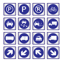Metallic set blue transport and road signs