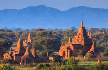 The Temples of Bagan at sunset, Bagan, Myanmar