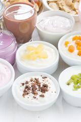 Assorted fruit yoghurts and breakfast ingredients, vertical