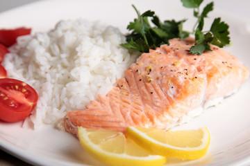 salmon steak with rice