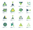 set of abstract triangle  shape green vector icons