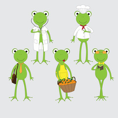 Five frog in different career