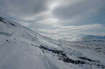 Silver present on the slopes of the hills of Chukotka.
