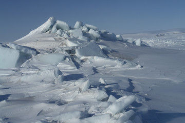 On the ice of the Arctic Ocean.