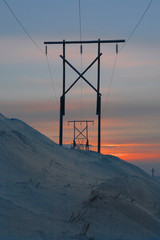 High voltage line in the hills of Chukotka winter.