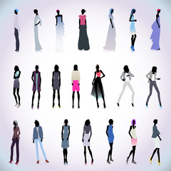 Set of high fashion women colored