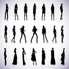 Set of high fashion women