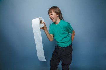European-looking boy of ten years  with toilet paper, wants to