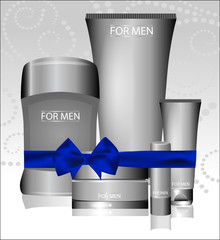 Vector different types of cosmetics for men