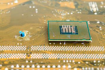 Computer processor on a circuit board.