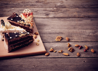cake on old wooden table