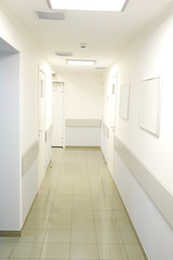Medical center corridor interior